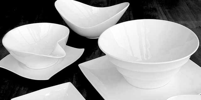 El material adecuado para su vajilla for Vajillas blancas modernas
