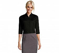 Foto Camisa Stretch Mujer Sol´s Manga 3/4 Effect Negro