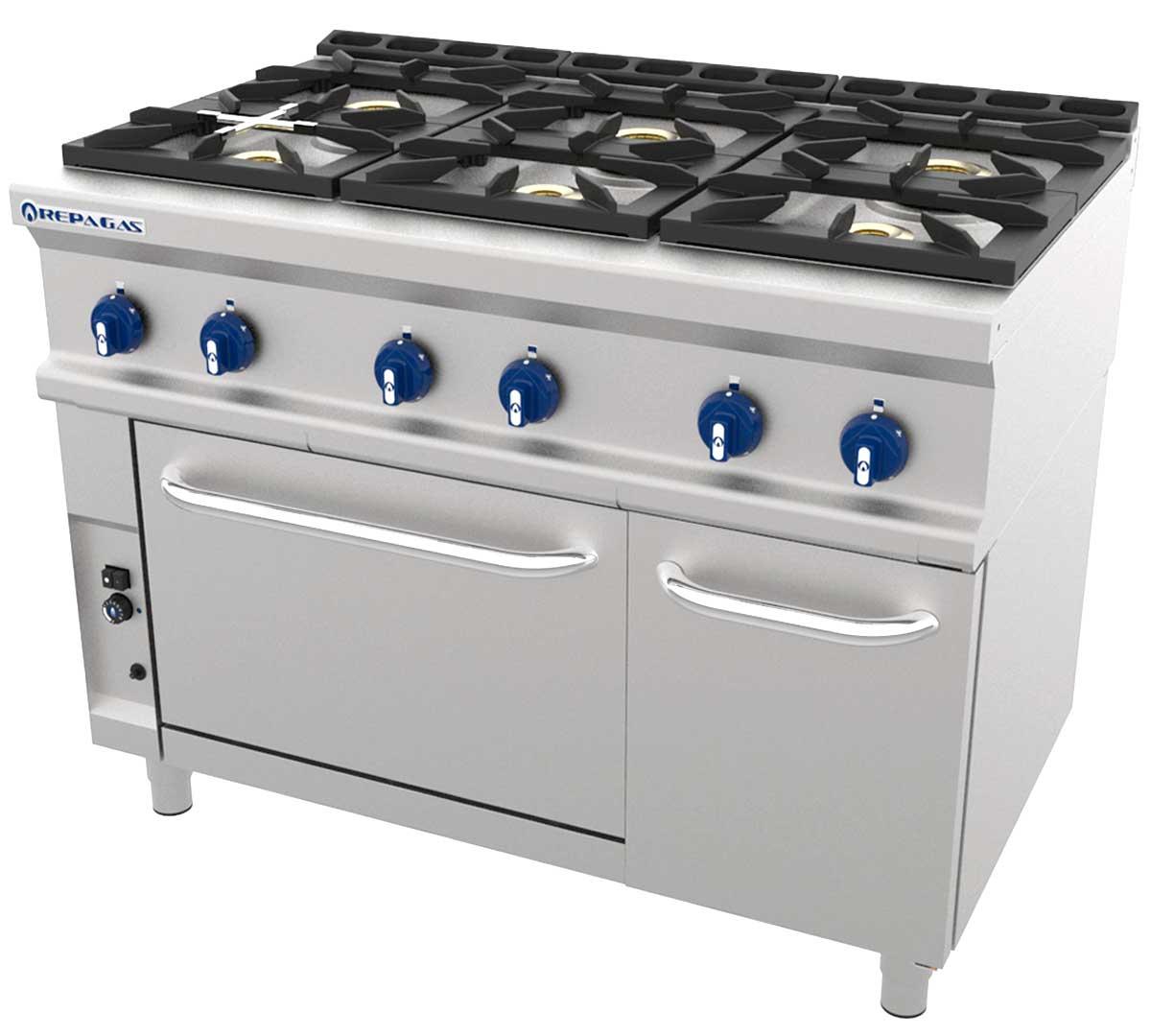 Cocina serie 750 cg con horno de repagas for Horno con fogones